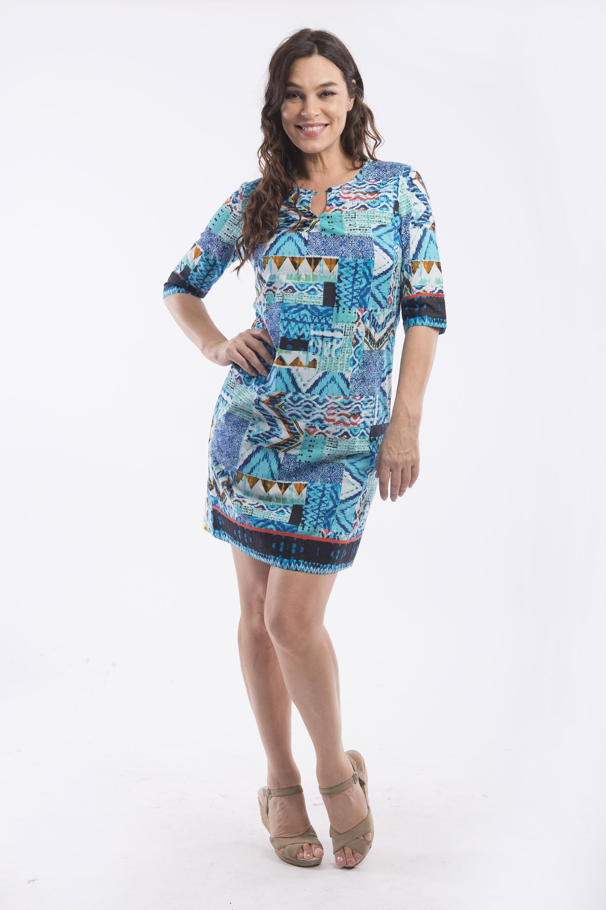 Myrtos by Orientique 3/4 Sleeve Shift Dress