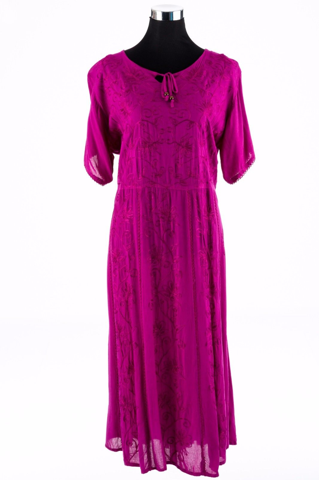 Beatrice-Long-Umbrella-Dress-Hot-Pink-Tie-Front-Boho-Style-Bohemian-Hippy-Dress-382139469220