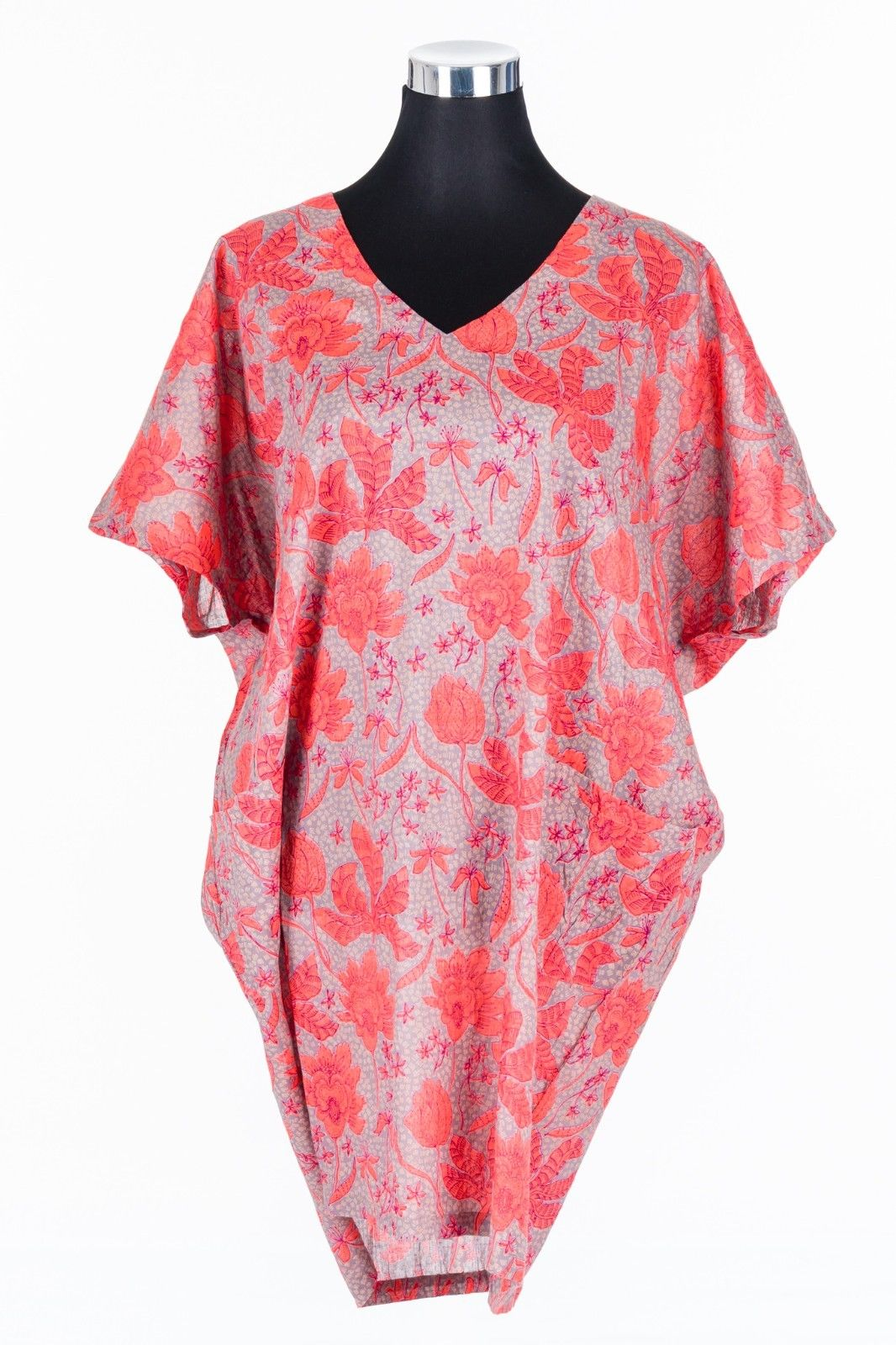 CASUAL-DRESS-PLUS-SIZE-BATWING-SLEEVE-FLORAL-VERMILION-RED-ORANGE-TAN-PRINT-382057531081