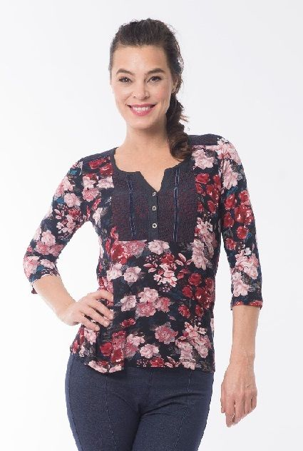 Orientique-Womens-Gothic-Floral-Ladies-Blouse-Top-Lace-Yoke-382138735531