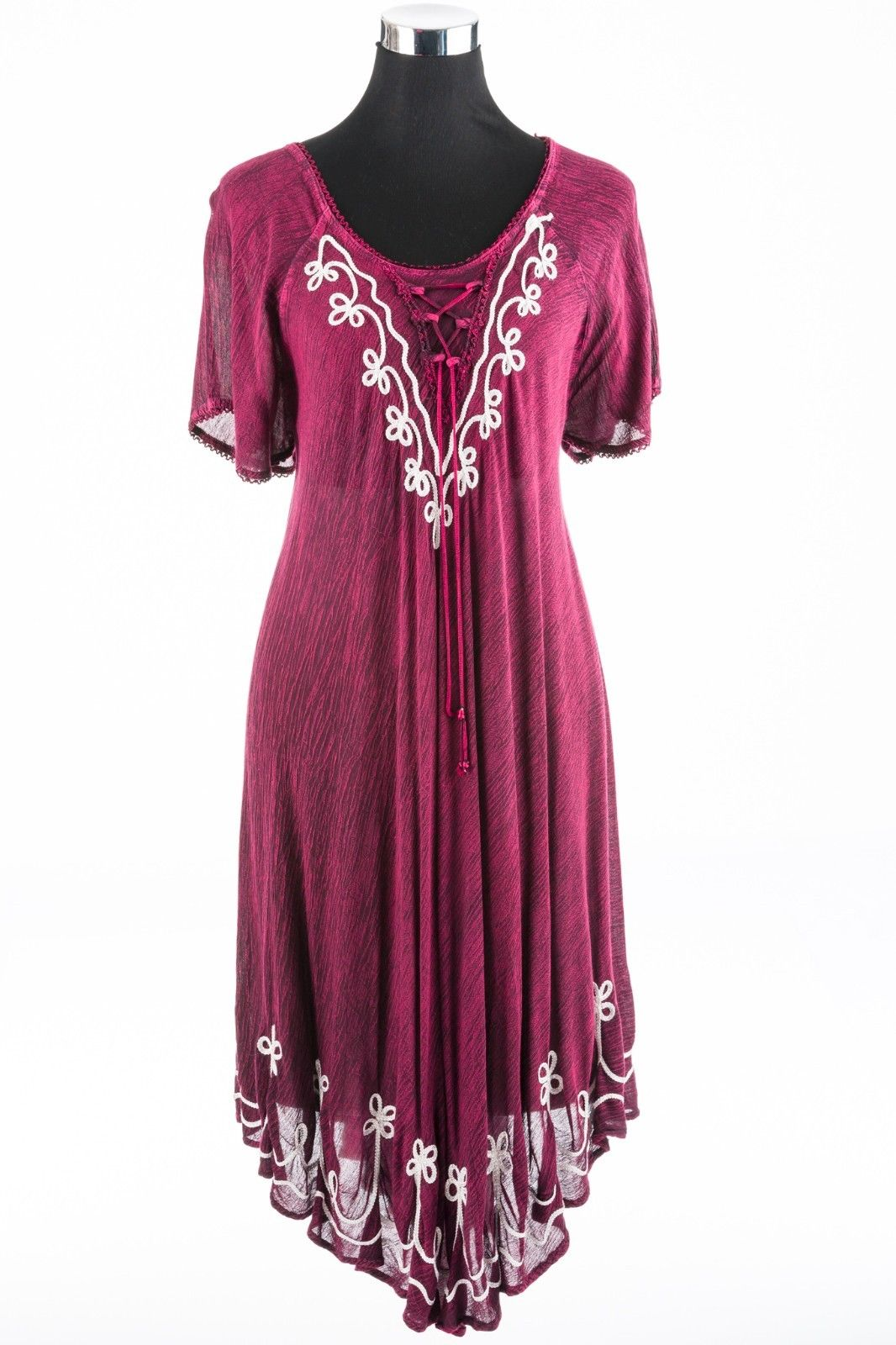 FESTIVAL-CLOTHING-Burgundy-Umbrella-Dress-Bohemian-Style-One-Size-Fits-10-to-18-381941191152