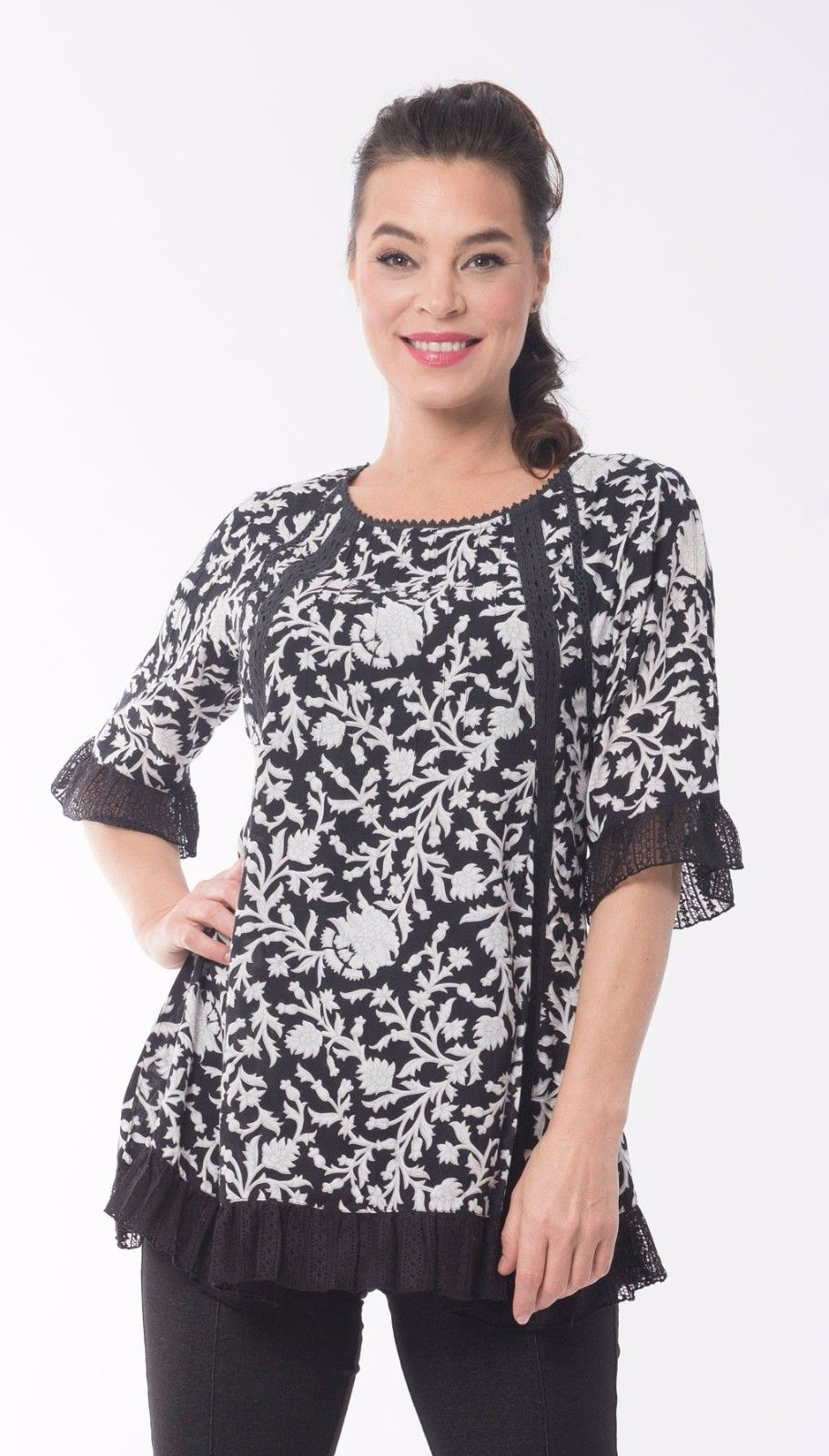 Klee-Flared-Tunic-in-Black-and-White-Size-14-by-Orientique-382138756592