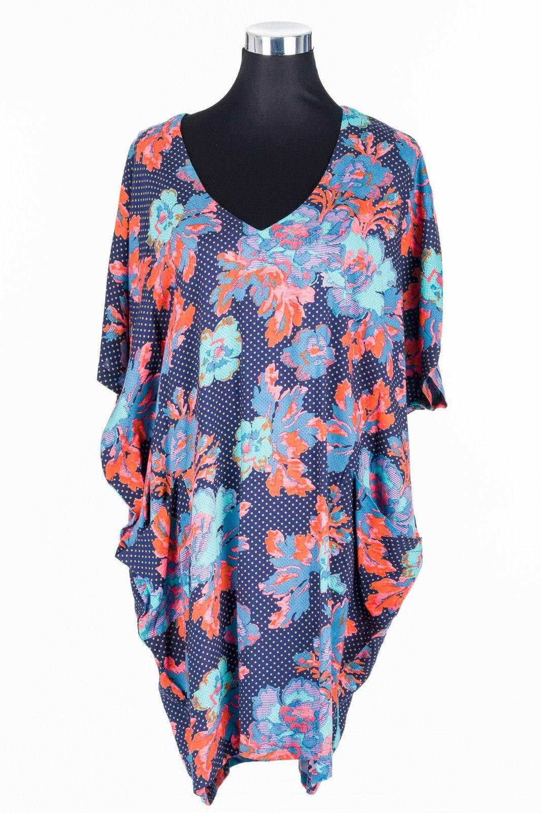 WOMEN-VINTAGE-FLORAL-LOOSE-DRESS-BATWING-SLEEVE-V-NECK-LADIES-CASUAL-RETRO-382057511612