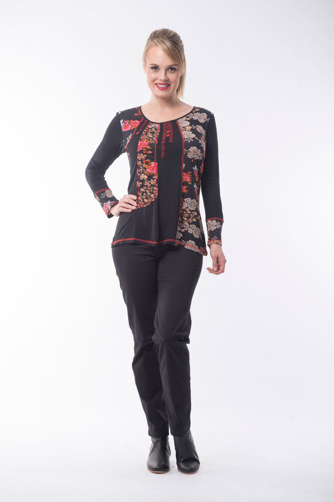 Boccini-Long-Sleeved-Ladies-Floral-T-Shirt-Top-by-Orientique-Black-Orange-Pink-382026884653