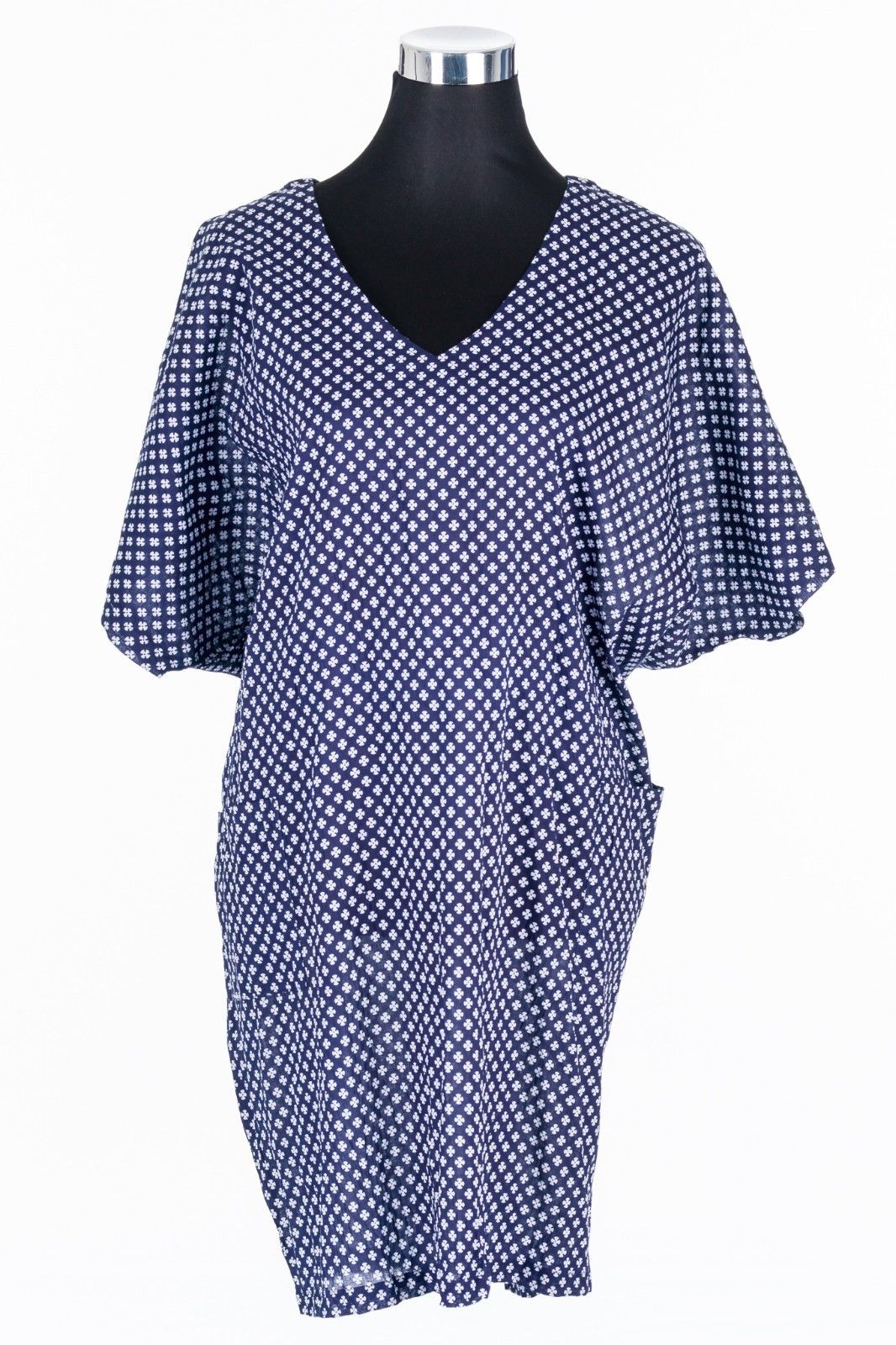 CASUAL-DRESS-PLUS-SIZE-BATWING-SLEEVE-NAVY-BLUE-PRINT-LOOSE-COOL-CASUAL-382139552454