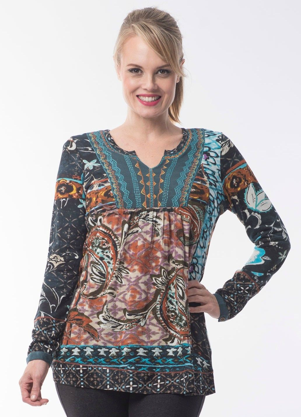 Orientique-Paisley-Patch-Boho-Ladies-Womes-Long-Sleeve-Tunic-Top-Blue-Grey-Aqua-382043072854