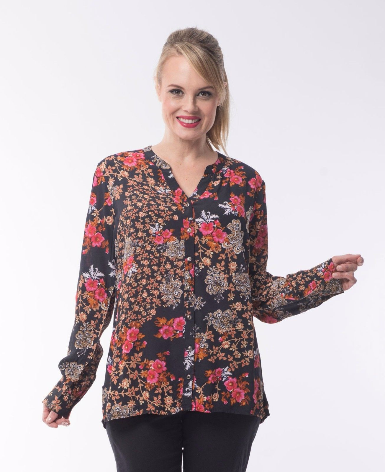 Boccini-Floral-Tunic-by-Orientique-Womens-Shirt-Blouse-Orange-Pink-Black-382026854545