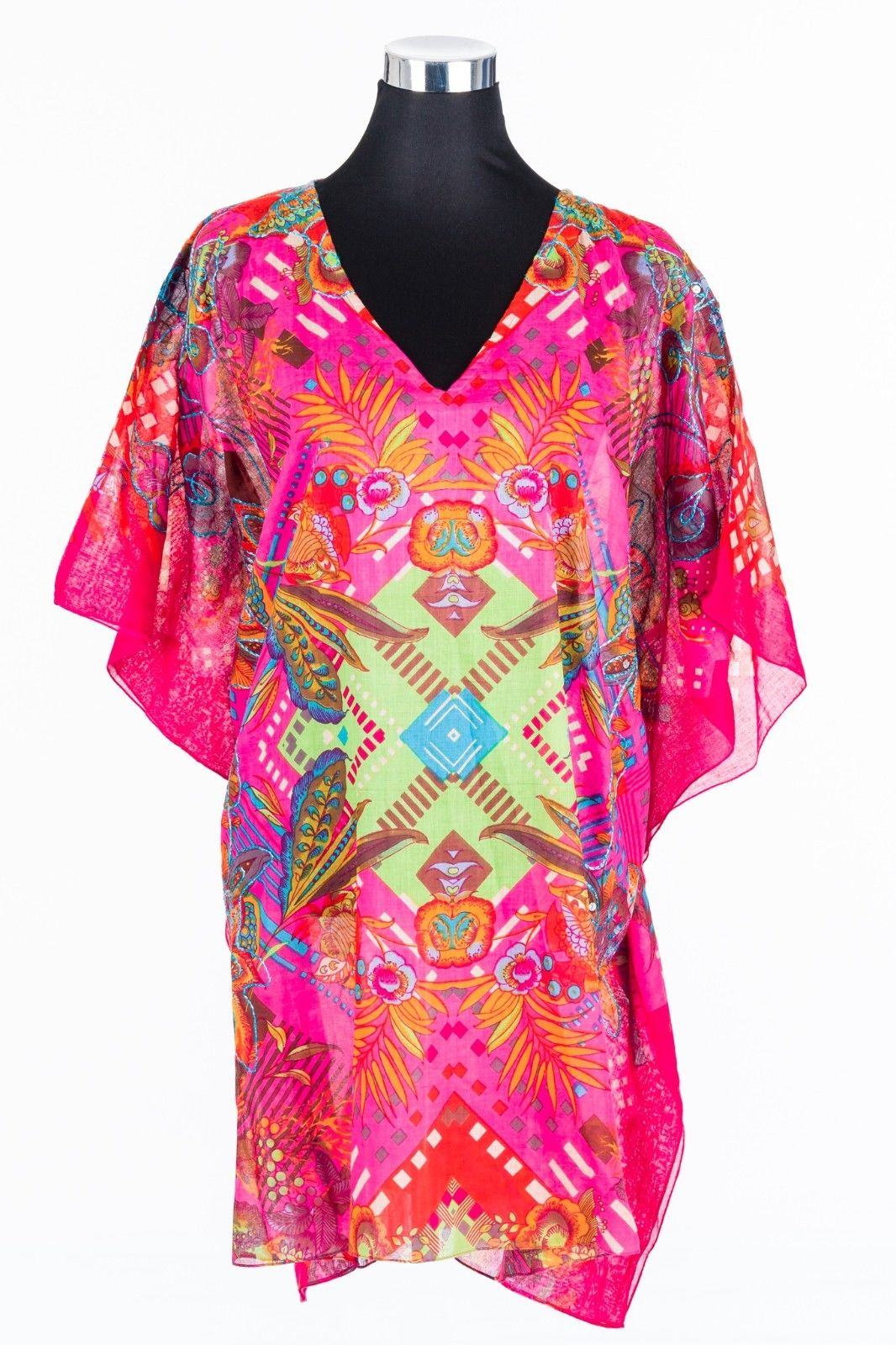 Cotton-embroidered-Ladies-Kaftan-Tunic-Top-Pink-Floral-Design-One-Size-Plus-Size-382139629235