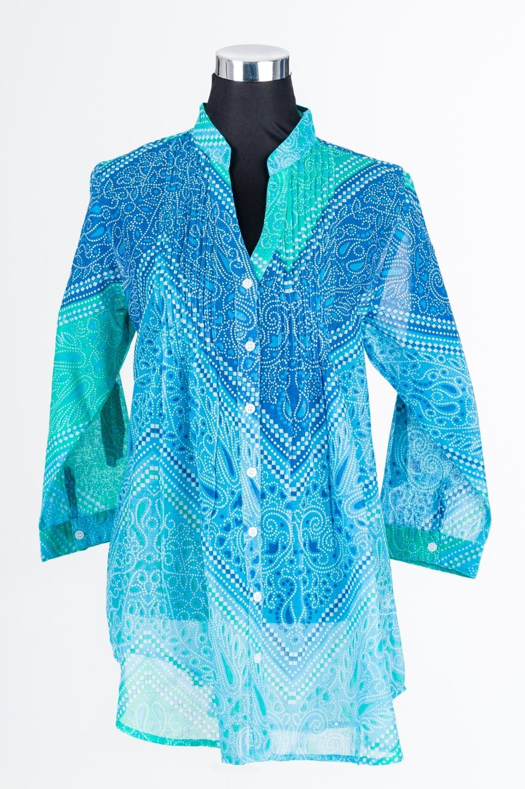 Ladies-Womens-Tunic-Beach-Shirt-Cotton-Blue-Sizes-10-to-20-Plus-Size-382139598465