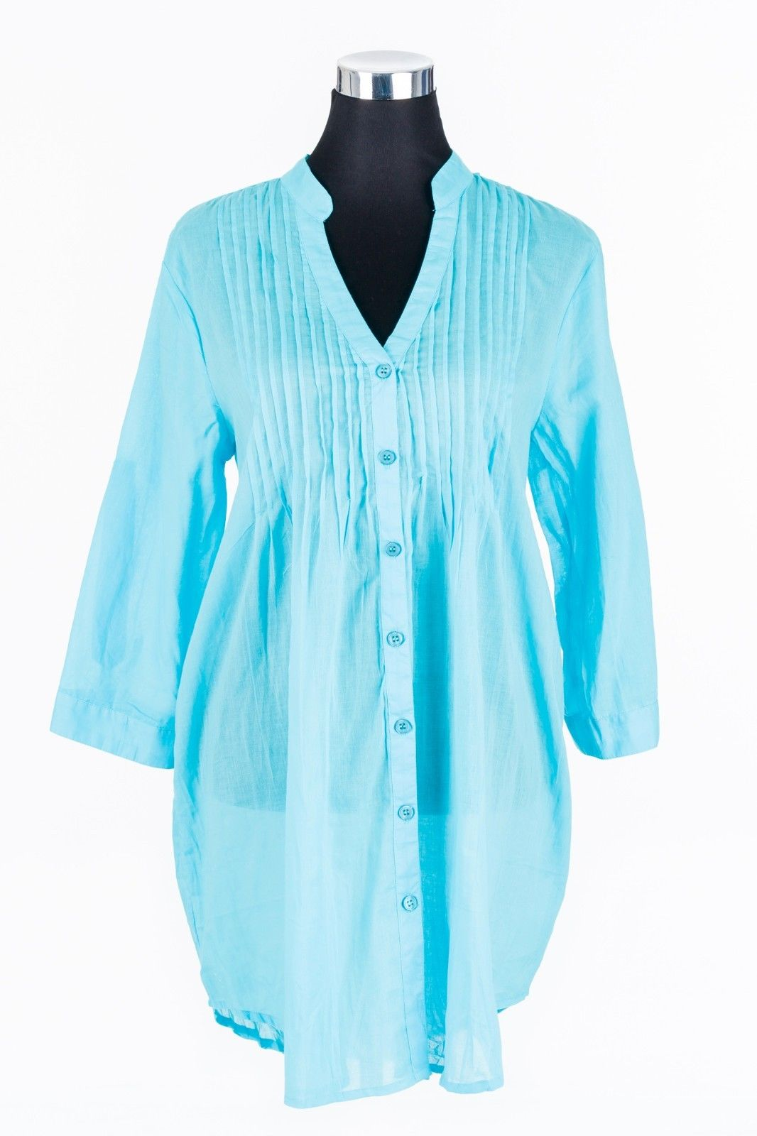 LADIES-WOMENS-BEACH-SHIRT-AQUA-100-COTTON-SIZES-10-TO-20-PLUS-SIZE-382139668516