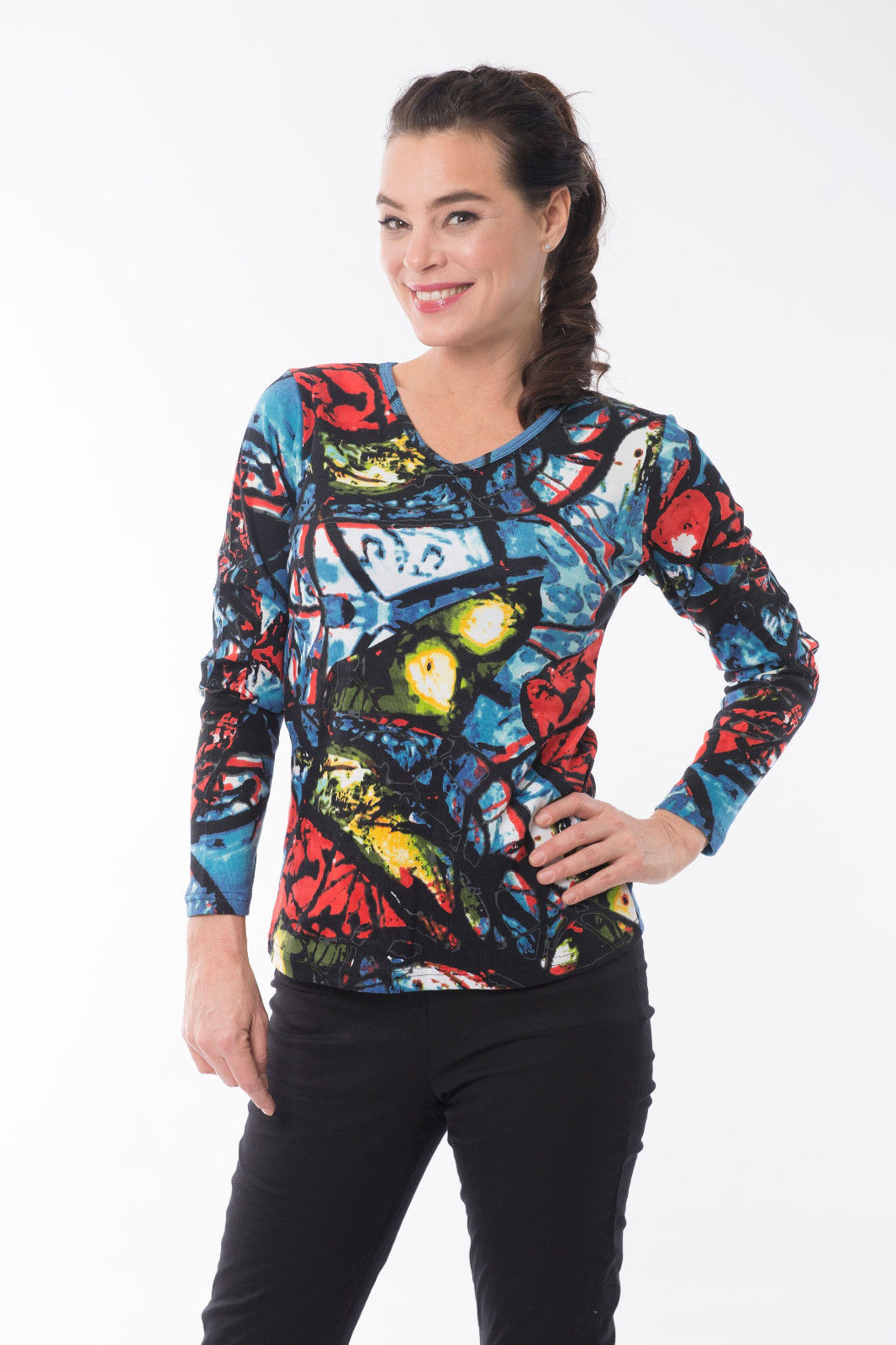 ORIENTIQUE-PRINTED-LONG-SLEEVED-V-NECK-LADIES-WOMENS-COTTON-T-SHIRT-BLUE-RED-382026939567