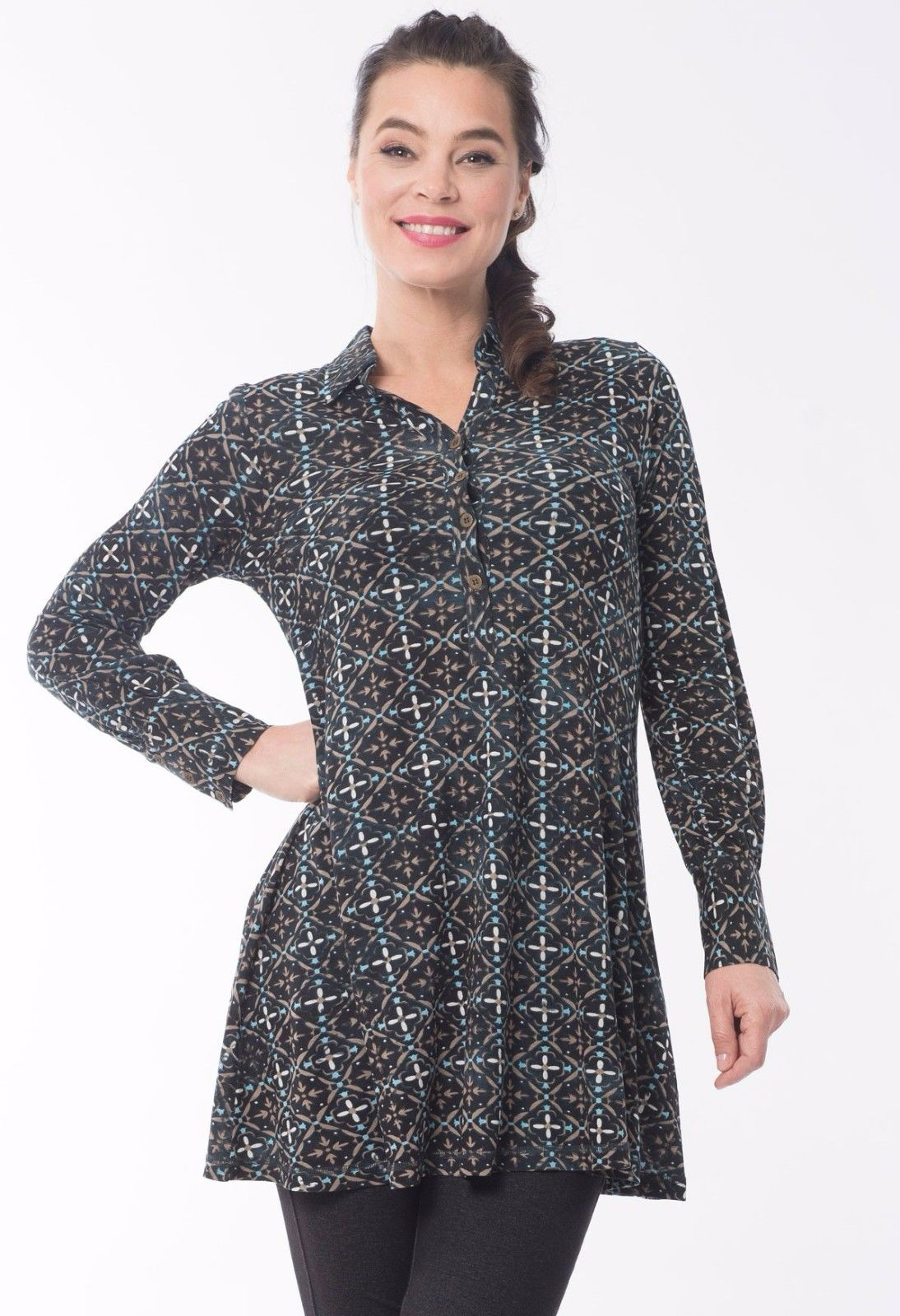 Paisley-Patch-Womens-Ladies-Tunic-Shirt-Generous-Fit-Long-Sleeves-by-Orientique-382043048687