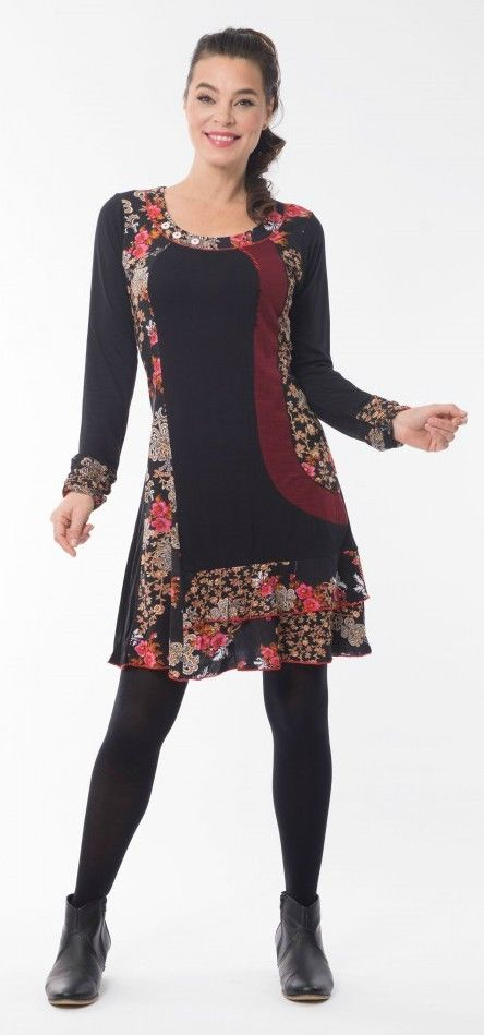 Boccini-Print-Ladies-Red-Black-Winter-Dress-Long-Sleeves-from-Orientique-Size-16-382043035978