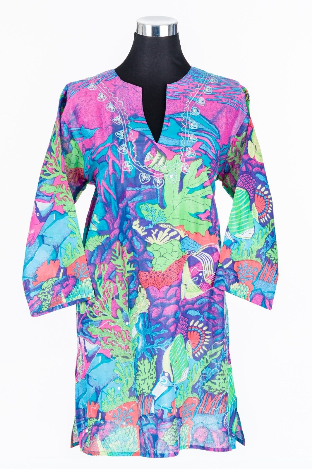 Great-Barrier-Reef-Cotton-Tunic-Kaftan-Top-Cotton-Sizes-10-22-PLUS-SIZE-382139641489